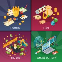 Conjunto de ícones de conceito de loteria vetor