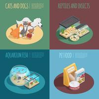 Conjunto de ícones de conceito de loja de animais vetor