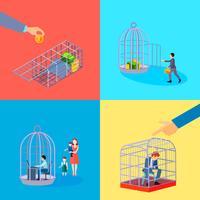 Conjunto de conceito de gaiola de escritório vetor