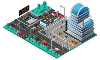 Composição isométrica de paisagem urbana futurista vetor