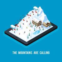 Conceito de resort de esqui on-line vetor