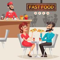 Pessoas na ilustração de restaurante Fast Food vetor