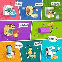 Página de quadrinhos colorida brilhante de eletrodomésticos