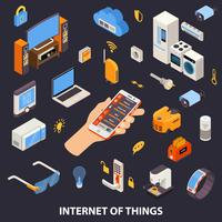 Internet do cartaz isométrico do controle das coisas vetor