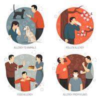 Conjunto de ícones de design alérgico vetor