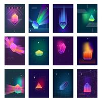 Conjunto de ícones de imagens coloridas de cristais poligonais