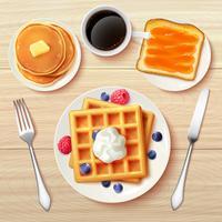 Imagem realista de vista superior de café-da-manhã clássico