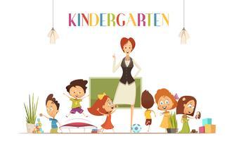 Professor de jardim de infância com ilustração de desenhos animados de crianças