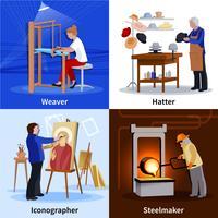Artesãos contemporâneos 4 ícones lisos quadrados