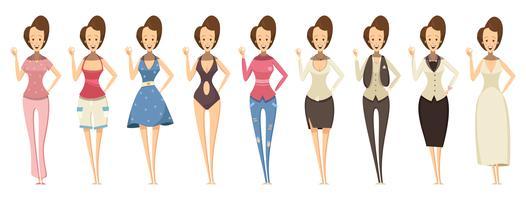 Mulher em vários conjuntos de roupas vetor