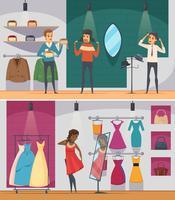 Trying Shop Flat Conjunto de composição de pessoas