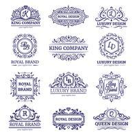 Conjunto de Monocromático de etiquetas de luxo