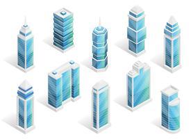 Conjunto isométrico de casas da cidade vetor