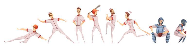 Conjunto de ícones coloridos de jogadores de beisebol vetor