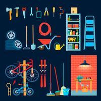 Elementos de interior de oficina de garagem