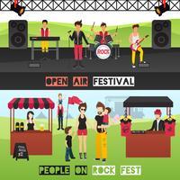 Conjunto de Banners Festival ao ar livre