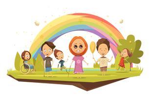 Crianças com deficiência desenhos animados estilo ilustração vetor