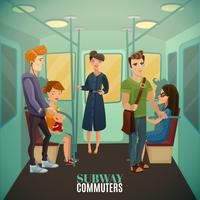 Fundo de passageiros de metrô vetor
