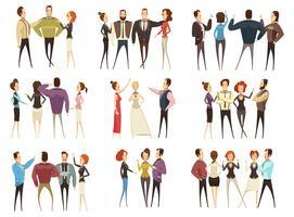 Conjunto de estilo de desenhos animados de equipes de negócios
