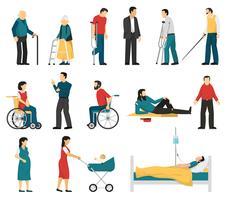 Conjunto de pessoas com deficiência vetor