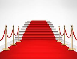 Ilustração realista de escadas brancas de tapete vermelho