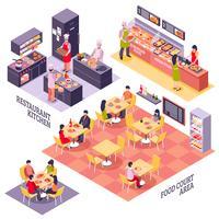 Conceito de Design de praça de alimentação vetor