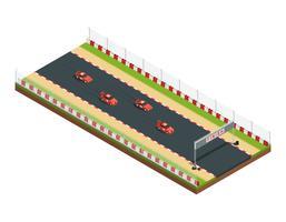 Composição de pista de corrida isométrica vetor