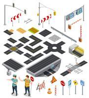 Elementos isométricos de seções da estrada vetor