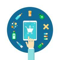 Composição on-line de farmácia vetor