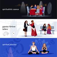 Conjunto de Banner Extrassensorial de Hipnotismo vetor