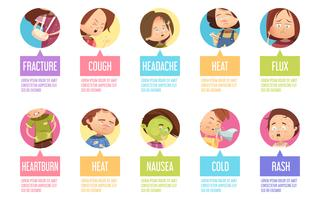 Conjunto de ícones de criança de doença dos desenhos animados