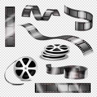Tiras fotográficas realistas e rolos de filme