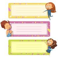 Design de capas de caderno com crianças engraçadas vetor