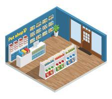 composição interior de loja de animais vetor