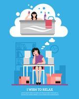 Mulher, desejando, para, relaxe, apartamento, ilustração
