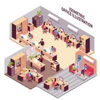 Ilustração de locais de trabalho de escritório isométrica