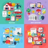 Conjunto de ícones de conceito de orçamento pessoal