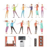 Conjunto de elementos de festa de karaoke