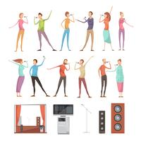 Conjunto de elementos de festa de karaoke vetor