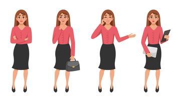 Conjunto de gesto de mulher dos desenhos animados vetor