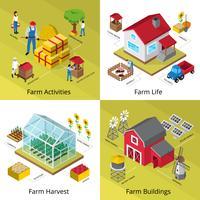 conceito de fazenda 4 isométrica ícones quadrados