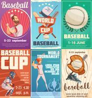Conjunto de cartazes de beisebol em estilo Retro vetor