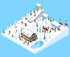 Elemento de paisagem de aldeia de esqui vetor