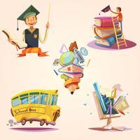 Conjunto retrô de educação dos desenhos animados vetor
