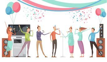 Festa de karaoke plana vetor