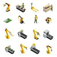 Símbolos isolados de maquinaria robótica vetor
