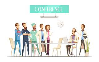 Estilo retro dos desenhos animados médicos da conferência vetor