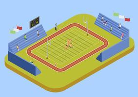 Ilustração isométrica do estádio complexo esporte universitário vetor
