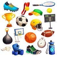 Conjunto de ícones decorativos de inventário de esporte