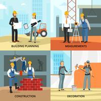 Conjunto de ícones de conceito de construção vetor